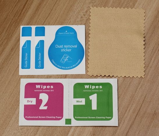 600set For Cell Phone Toughened Glass Membrane Film Sticking Dust Remove Guide Sticker,Alcohol Prep Pad,Cleaning Cloth 3pcs/set