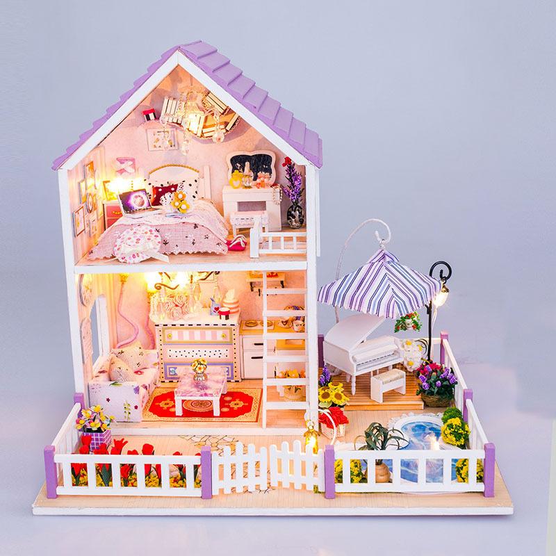 New products Hongda DIY wooden doll house miniatures Villa dollhouse miniature 13834