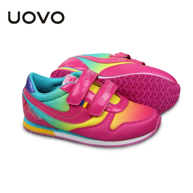 Яркие цветные обувь 2016 UOVO марка дети кроссовки мальчики девочки детская спортивная кроссовки EU25-38 Sapatos яркие цветные обувь