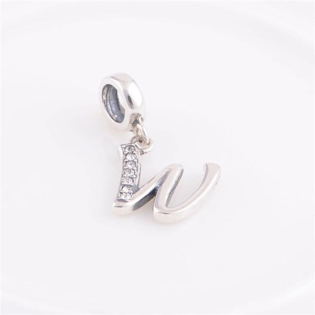 """Лаки """" W """" письмо подвески стерлингового серебра 925 бусины кулон ожерелье ювелирные изделия DIY подходит для Chamilia европейский стиль браслет"""