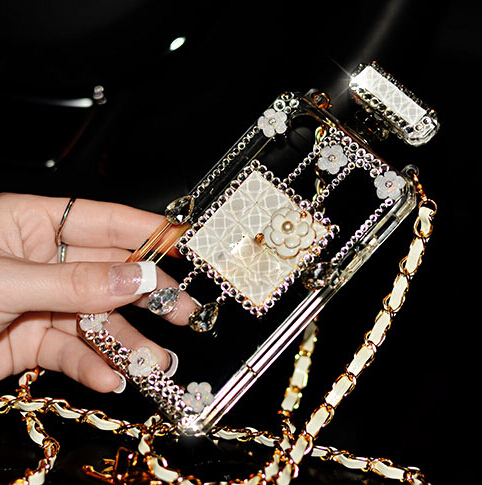 Hot sale Attractive Luxury diamond perfume bottle cover transparent case for Samsung Galaxy J1 J100(China (Mainland))