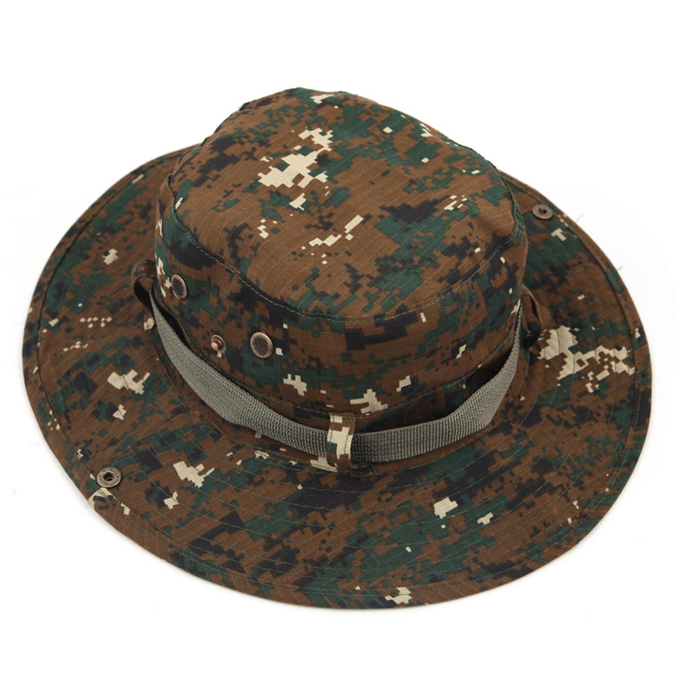 Hot Men Outdoor Fishing Caps Military Camouflage Caps Wide Round Brim Camping Hiking Sun Cap Sports Hat