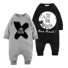 2016 New Toddler Baby Girls Boys Long Sleeve Romper Jumpsuit Lettle No Sleep to the Moon Hot