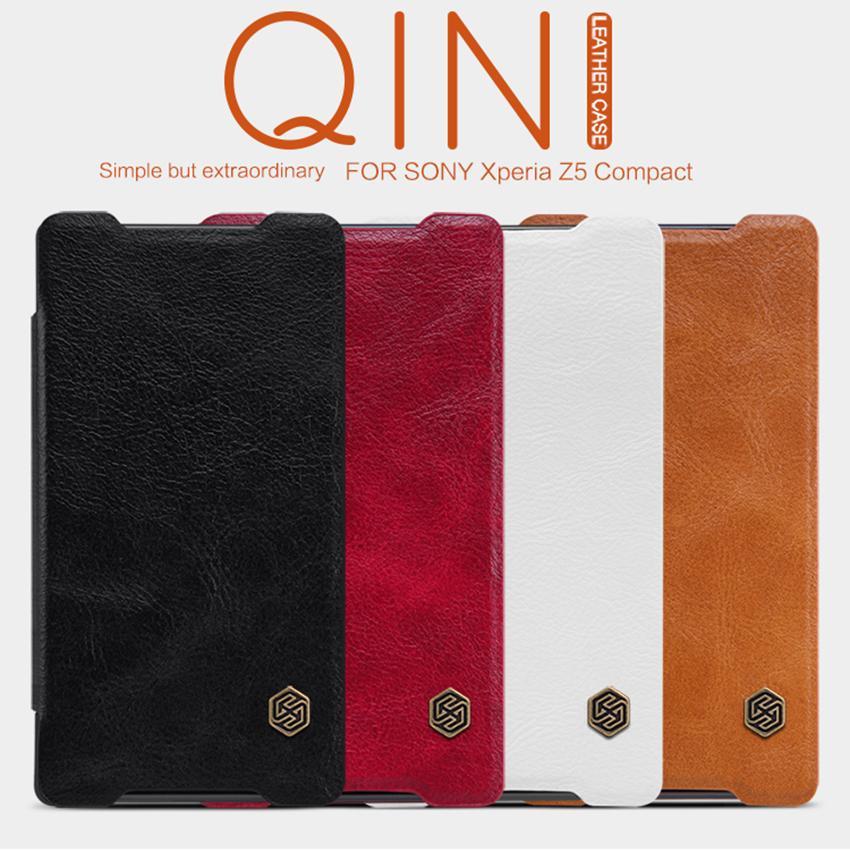 NILLKIN Qin Series Wallet Flip Leather Case For Sony Xperia Z5 Compact/e5803/e5823/J5 Compact/Z5 mini Genuine Flip Leather Case