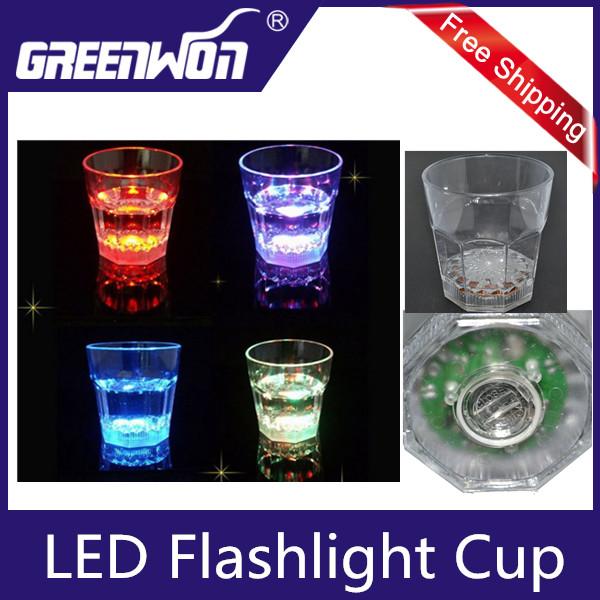 Dreamlike LED Plastic Activated Flashing Whiskey Cup Wine Mug For Party House Decor(China (Mainland))