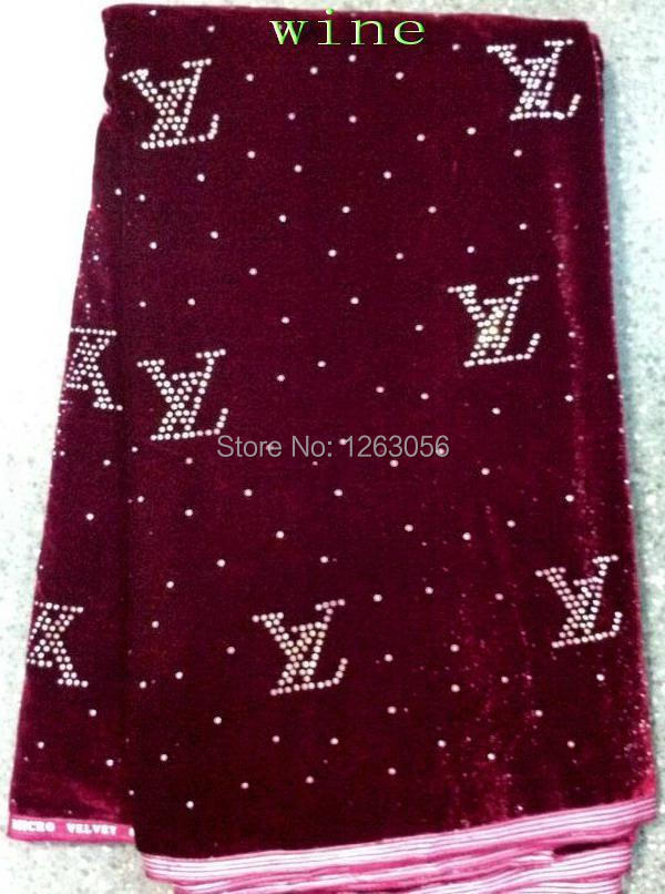 High quality New cotton flannel mesh wine red velvet African lace fabric guipure Flannelette diamond sequins for wedding sewing(China (Mainland))