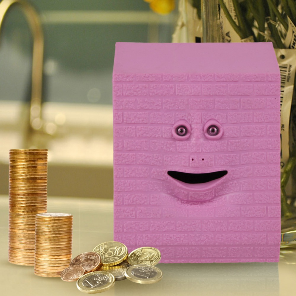 Brick Face Bank Saving Sensor Coin Money Eating Box Money Saving Box Money Box Bank for Money fot Kids Gifts Free Shipping