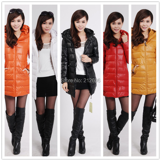 Lanluu New 2014 Winter Thick PU Leather Down Coat Women's Medium-Long Cotton Jacket Outerwear SQ734