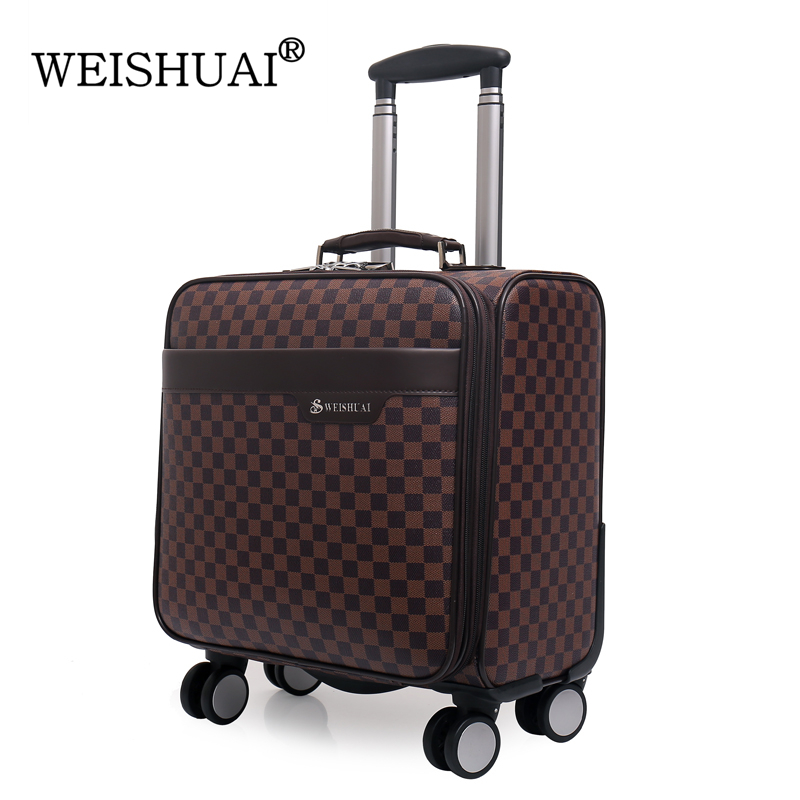 Womens/Mens PU Leather 16 Inch Plaid Spinner Trolley Travel Suitcase Coffee/Beige Small Luggage Suitcase Air Boarding Case(China (Mainland))