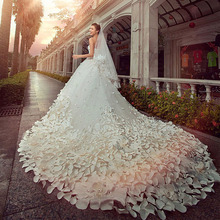 Hot sale Luxury Soft tulle hand made flower Sweetheart Beads Crystal Royal train custom size Wedding Dresses 2016(China (Mainland))