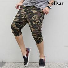 Vellsar2017 Nueva Moda Envío Gratis Camuflaje Capris Harem Gota Entrepierna Pantalones Pantorrilla Hombres Camo Impreso Pantalones Casuales(China (Mainland))