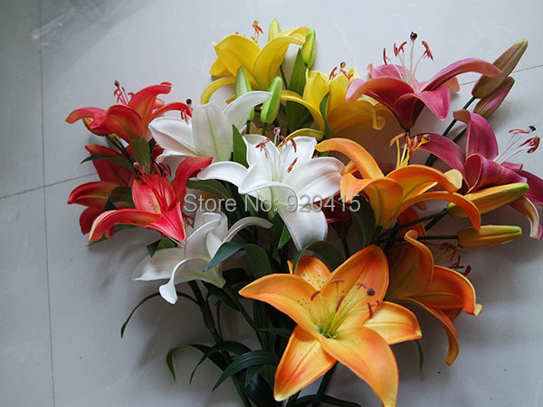 Free shipping,real touch artificial flowers,orange/white/pink tiger lily,5 pcs/lot,more high quality than silk flowers(China (Mainland))