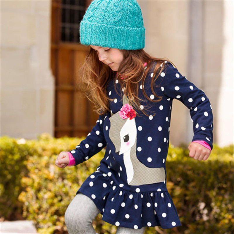Гаджет  Kids Baby Girls Long Sleeve Lace Dress One-piece Dots Deer Cotton Dresses Toddlers Clothes Freeshipping None Детские товары