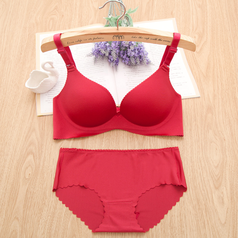 2015 New Sexy Seamless Bra Brief Sets Women Girl Brassiere 32A B 38C Cup One-piece Push Up Wine Red Bra 3/4 Cup Lingerie Set(China (Mainland))