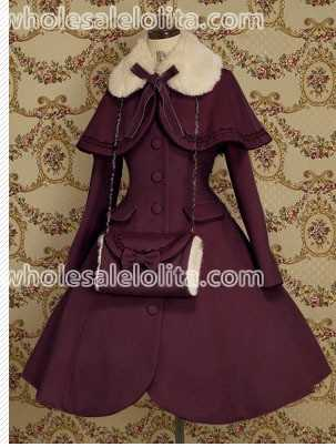 Top Sale Purple Wool Warm Winter Sweet Lolita Coat Winter Long Coats All Size For Sale(China (Mainland))