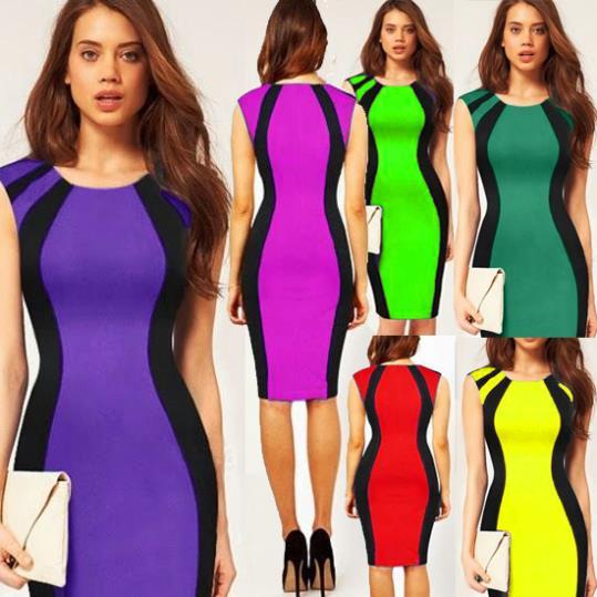 6 Color New Women Sleeveless Panel Dress Bandage Midi Dress Night Club Pencil Dress 4028(China (Mainland))