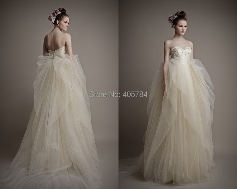 Buy Draped Tulle Beads Lace Champagne Wedding Dresses