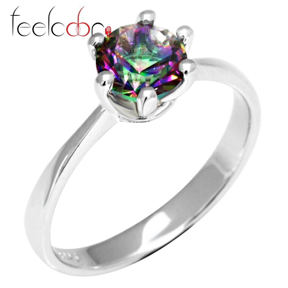 Genuine Mystic Fire Rainbow Topaz Engagement Wedding Ring Solid 925 Sterling Solid Silver Concave Round<br><br>Aliexpress