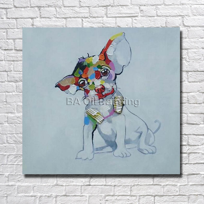 Cheap Modern Pure Hand-painted Oil Painting Canvas Abstract Dog Painting Modern Home Decoration Wall Pictures Framed
