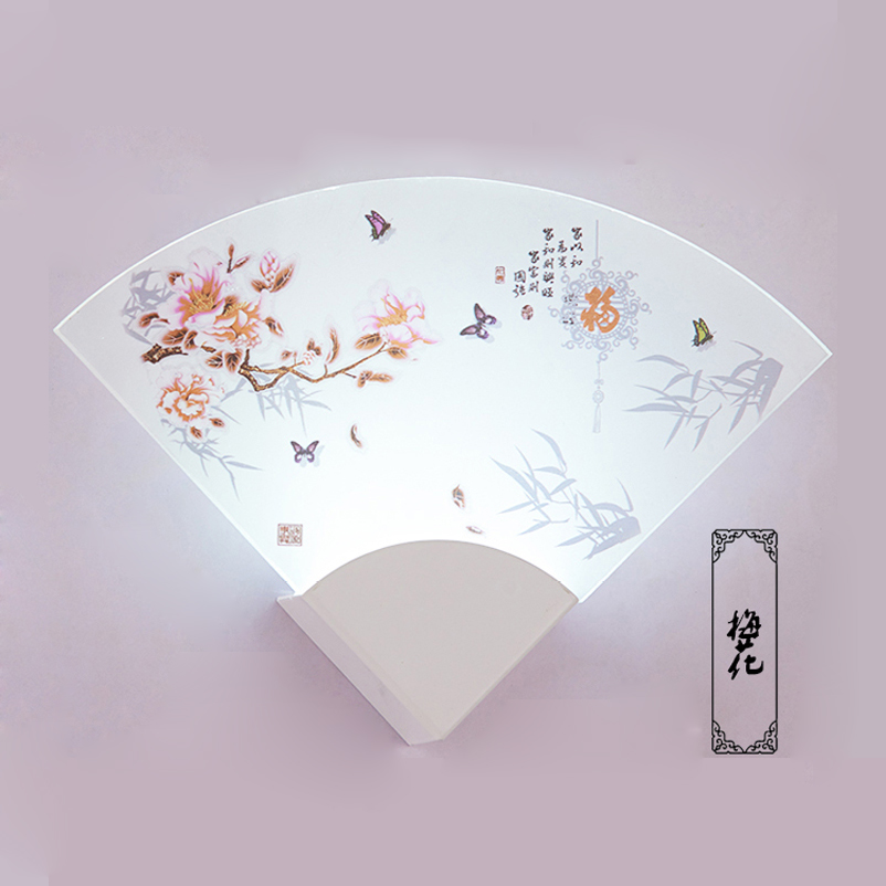 LED Simple Chines Style Fan shaped Wall Light Lamp For Bedroom Bar Foyer Corridor Hallway Entryway Balcony Bathroom Garden(China (Mainland))