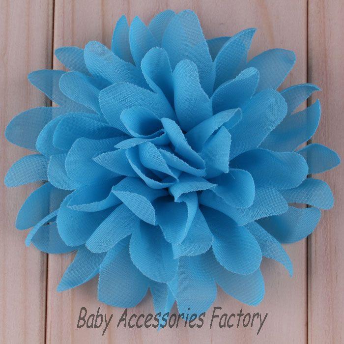 16color 40pcs Hot Chiffon Flatback Flower Artificial Flower Fabric Chiffon Flower Hair Accessories Hair Flower For Baby Headband(China (Mainland))