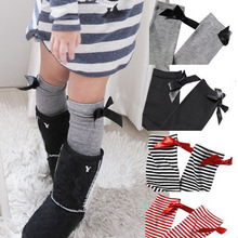free size 2~8 year toddler kids Children striped cotton socks bowknot knee high baby socks Princess socks free shipping(China (Mainland))