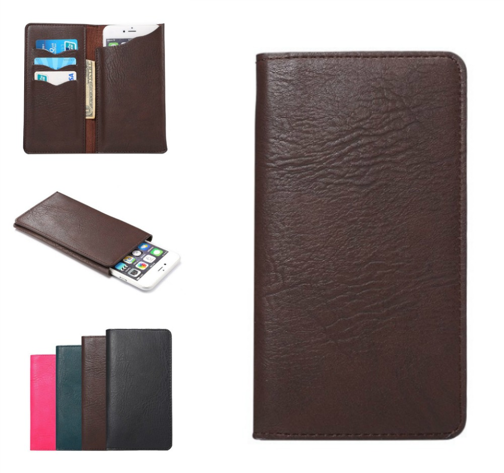 5.3-5.7 inch Universal Cell Phone Pouch Leather Wallet Case For iphone 6plus Note 5 Note4 Card Holder Fashion Bag(China (Mainland))