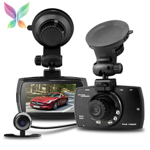 H.264 1.3M Car Front Rearview Camera Recorder DVR Dual lens Full HD 1080P 2.7 LCD with G-sensor Motion Detection Night Vision(China (Mainland))