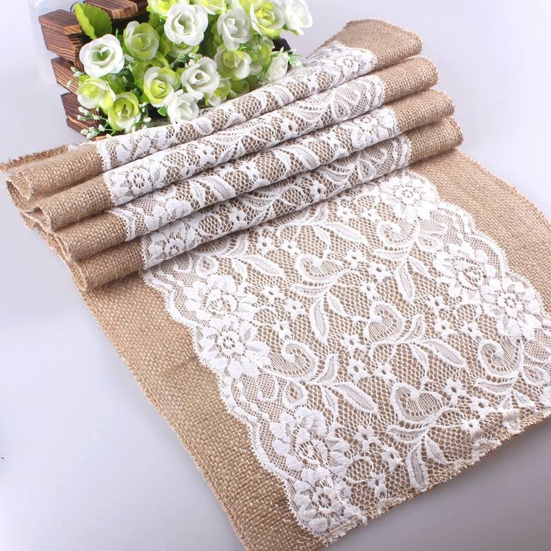 Home Decor 29*108 cm Burlap Jute Table Runner Rustic Vintage Improvement Decorative Crafts Linen Lace Cloth Natural Supplies(China (Mainland))