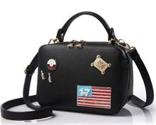 Metal patch letter stickers cloth hand shoulder bag,new fashion street shooting playful handbag,super cute woman bags