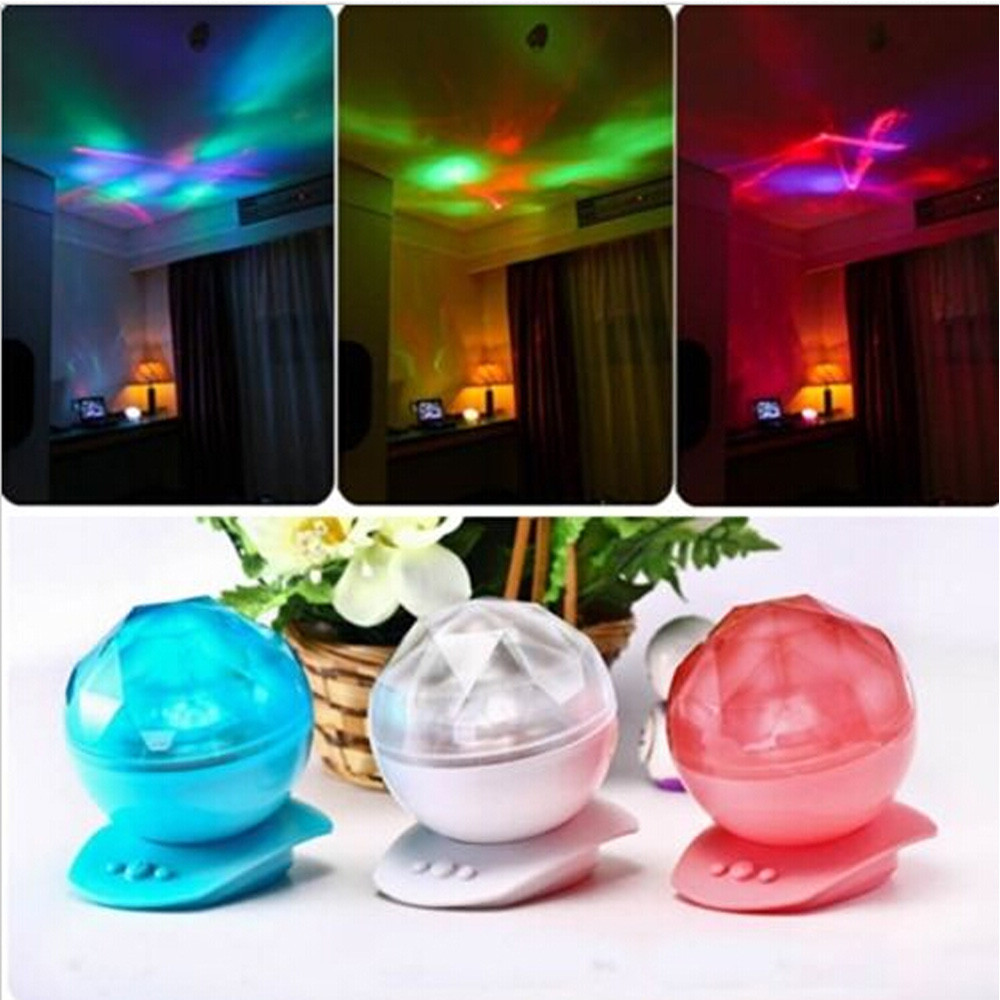 Romantic Aurora Star Color Changing Waves Led Night Light Lamp Projector Speaker 3 color options(China (Mainland))