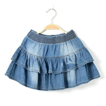 2015 new summer style girl denim tutu mini skirts children layered  jeans kids clothes pettiskirt 8 10 12 14 16T years old