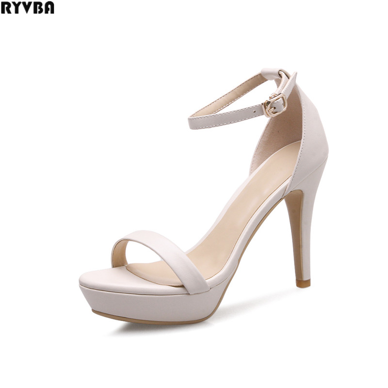 RYVBA woman genuine leather thin high heels summer sandals womens platform shoes women open toe women's elegant causal sandals(China (Mainland))