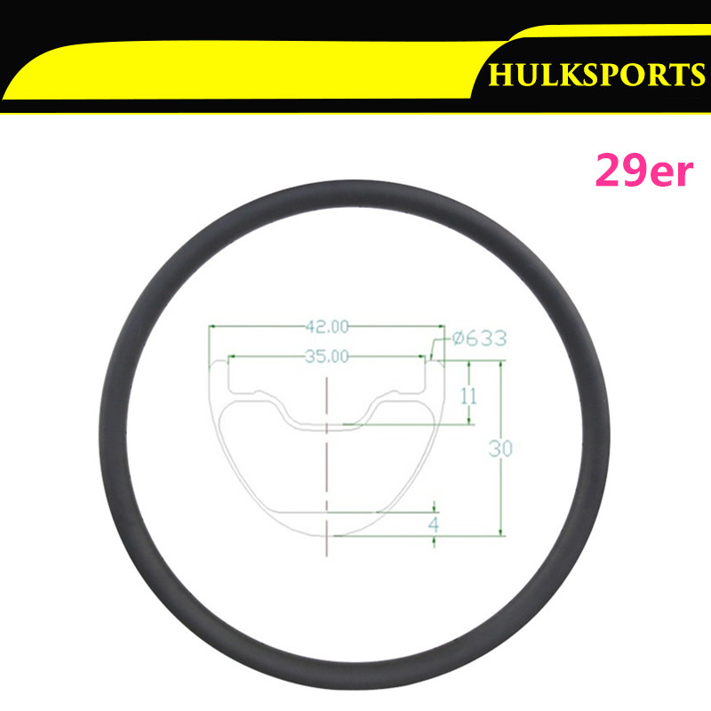 "29"" Carbon Fiber MTB Carbon Rims 29er Mountain Bike Full Carbon Fiber Rims 42mm Width 30mm Depth HK-M30-W42-29-A"
