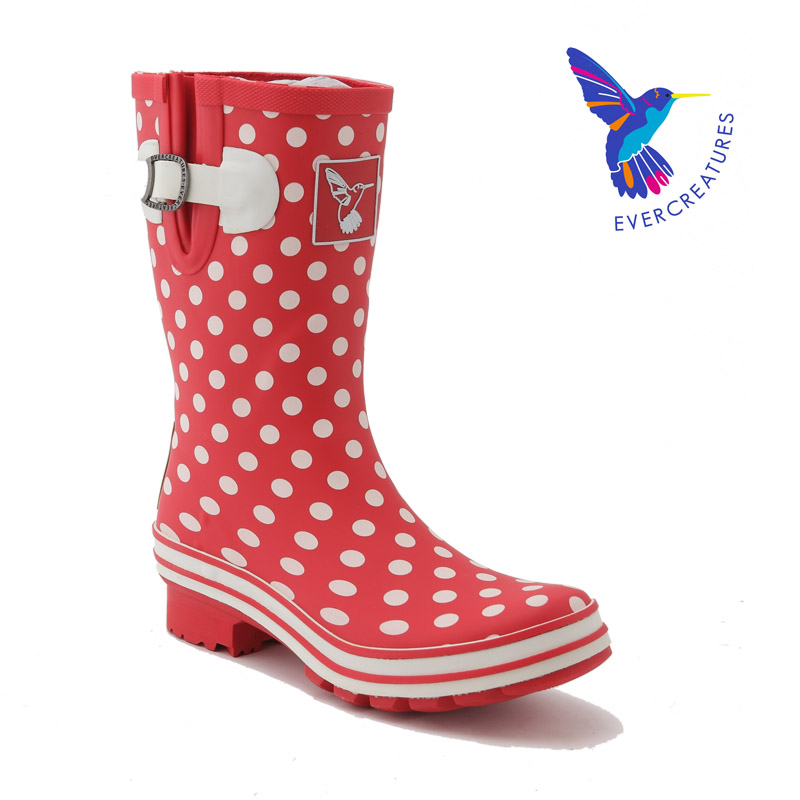 British brand ! 2015 new womans Fashion polka dot slip-on mid-calf Water shoes Natural rubber waterproof Rain Boots Rainboots <br><br>Aliexpress