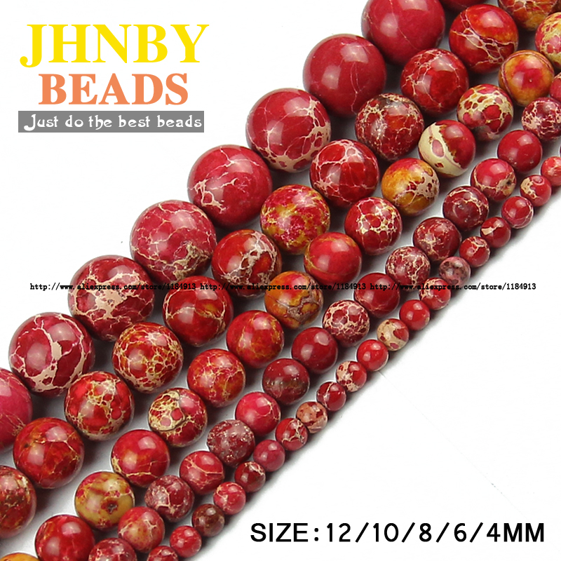 JHNBY Red Imperial pine beads Natural Stone Top Round Loose beads 4/6/8/10/12MM Jewelry bracelet Making accessories DIY Store)