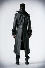 Punk Rave  punk style black long slim coat with adjustable waist decorated(China (Mainland))