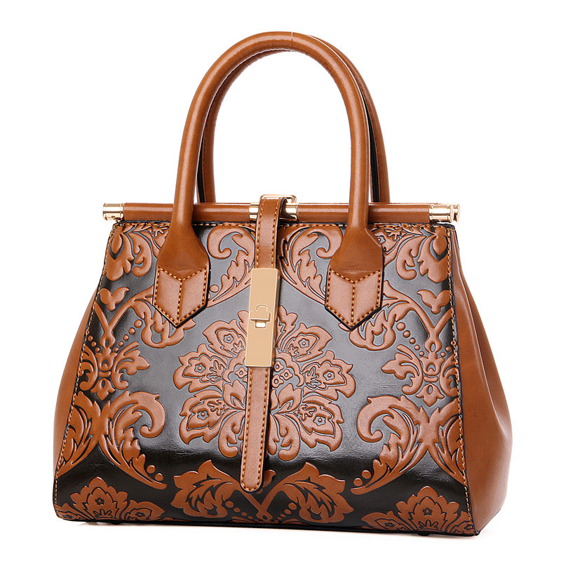 2016 women Fashion vintage Floral Embossed Handbags Famous designers brand Shoulder hand Bags female leather Totes <br><br>Aliexpress
