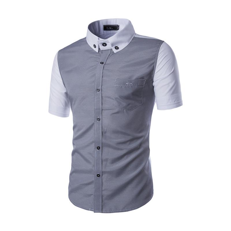 2xl 2016 new model summer mens short sleeve shirt dsg for Fitted short sleeve dress shirts for men