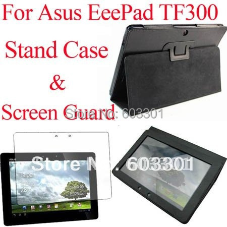 For Asus Transformer TF300 stand case and screen guard, TF300 cover case & screen protector, OPP bag packing, free shipping