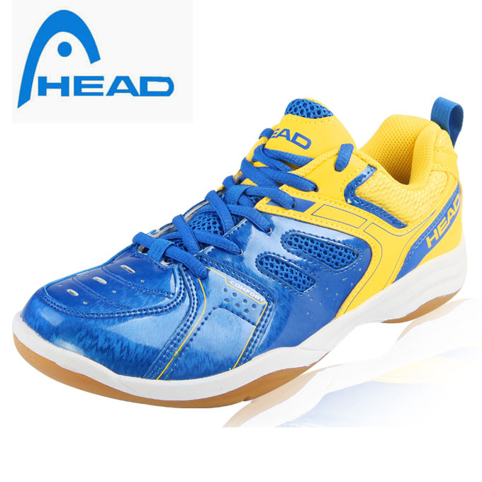HEAD 100% ORIGINAL COOL BLUE AND YELLOW SNEAKER ANTISLIP MALE/FEMALE BADMINTON SPORTS SHOES TENNIS SHOES FREE SHIPPING(China (Mainland))
