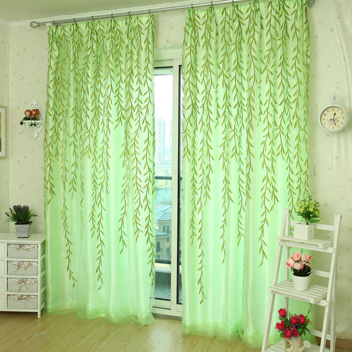 Pastoral curtains 200cm x 100 cm Willow Tulle Door Drape Panel Sheer Scarf Valances Window Curtain freeshipping(China (Mainland))