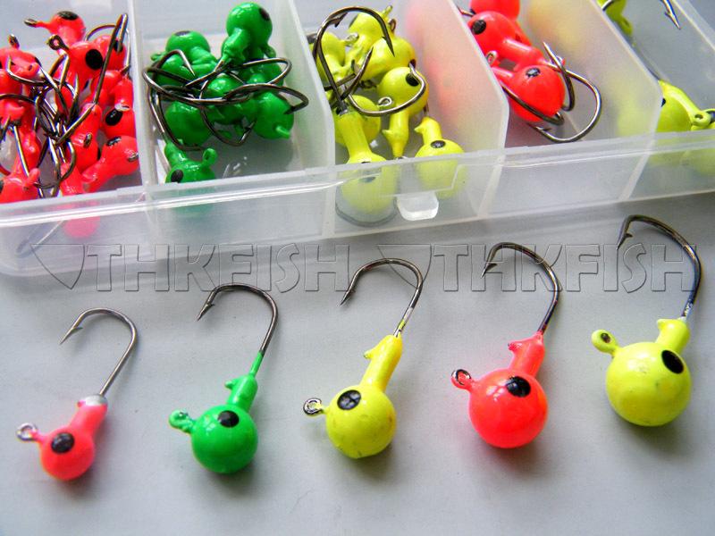 44Pcs 2g 4g 6g 8g 10g Lead Fishing Jig Head Hook Fishing Hook Set With Plastic Fishing Box