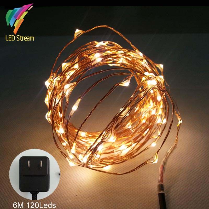6M 120 Led Copper Wire mini String Fairy Lights UL Approved Adapter 100-240Vac 12Vdc US Plug Holiday Party Christmas Decoration(China (Mainland))