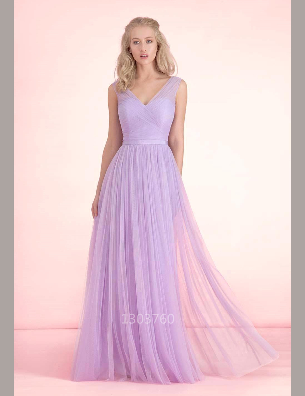 cheap elegant v neck a line long lavender bridesmaid