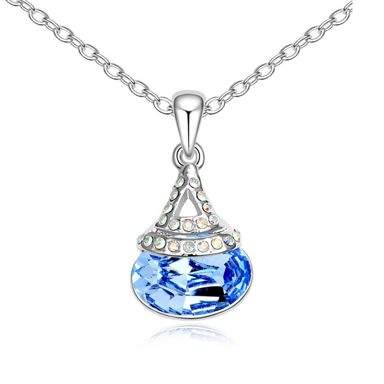 Hot Sale Retro DIY Crystal calabash Pendant Necklaces Collares Made with Swarovski Elements Kpop Bijoux femme Sapphire Jewelry(China (Mainland))
