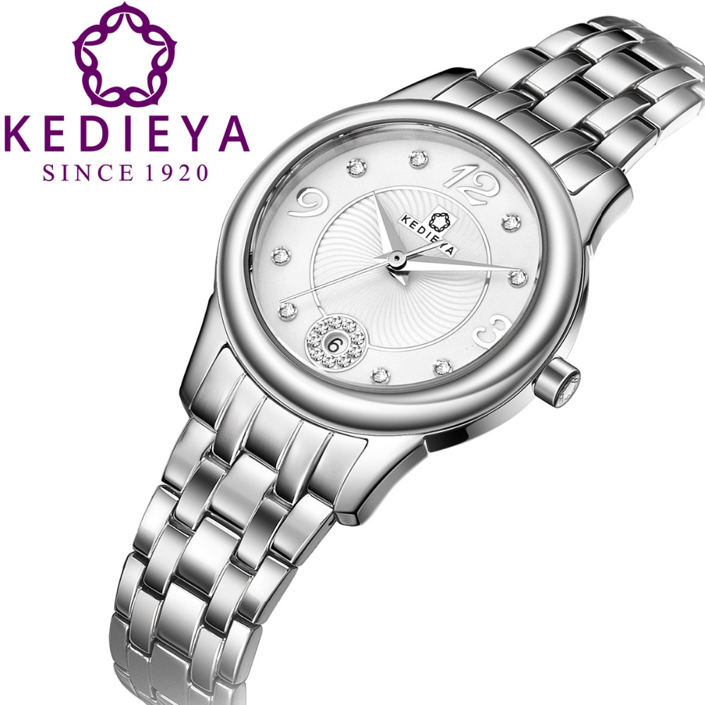 KEDIEYA Watch Womens Full 316L Stainless Steel 50M Water Resistant Japan Miyota Quartz Watch Best Watches for Lady Silver White<br><br>Aliexpress