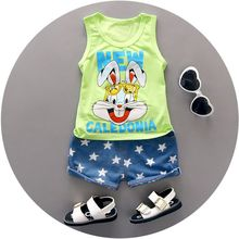 High quality baby boy clothes 2016 Summer cotton baby clothing set 2pc for 1 2 3 years old boys vest suit A021-108(China (Mainland))