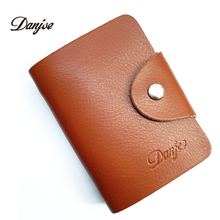 Buy DANJUE 26 Card Slots Men card holder genuine leather women business ID credit card case solid color small cowhide name card bag for $4.54 in AliExpress store