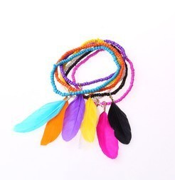 New fashion jewelry romantic little beads chain feather charm bracelet  gift for women girl ladies' 1set=6pcs B914